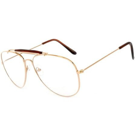 Aviator Brow Bar Clear Lens Gold Metal Sunglasses Men's Women's OWL - Make Your Own Sunglasses