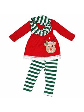 Girls 3 Piece Striped Rudolph Christmas Legging Set (8) Green
