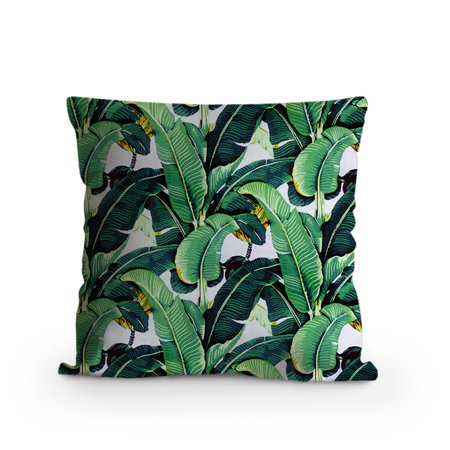 Popeven Decorative Pillow Case Cover With Tropical Banana Leaves Print 18x18 Cushion Home Office