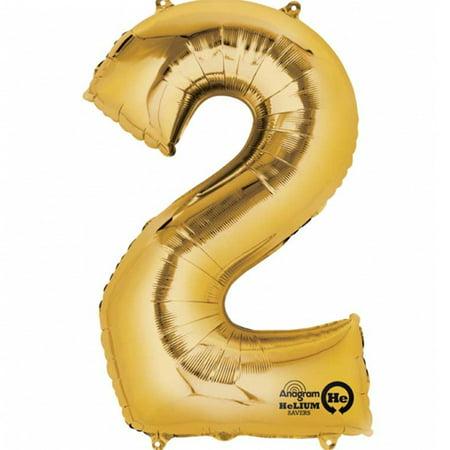 Mayflower Distributing 62934 34 inch 2 GOLD NUMBER SHAPE BALLOON -PKG - Number 2 Balloons