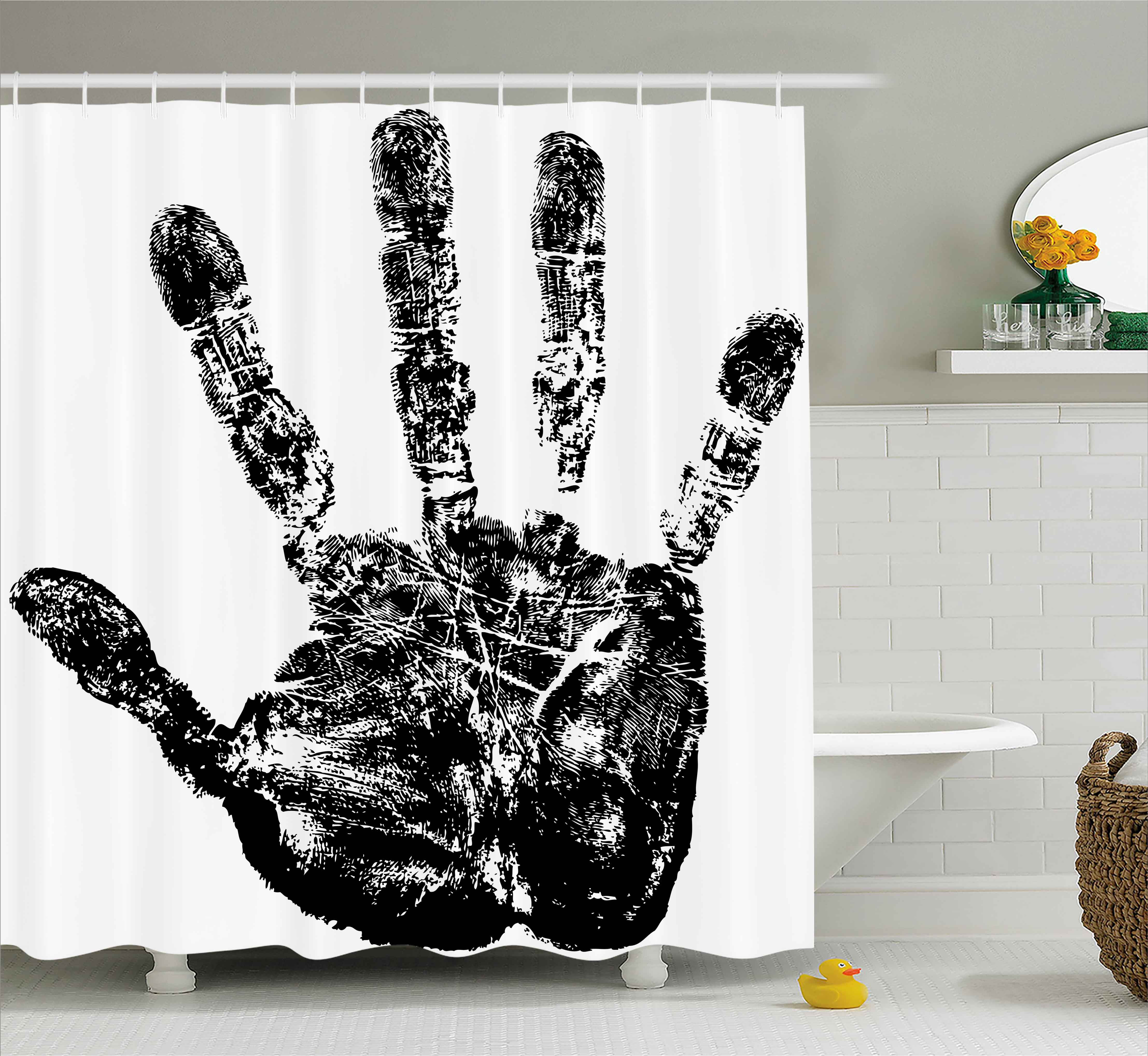 Modern Shower Curtain, Hand Print with Human Fingers in G...