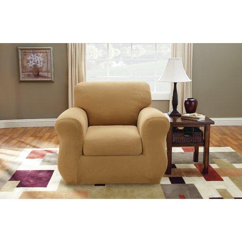 Sure Fit Stretch Pique Box Cushion Armchair Slipcover