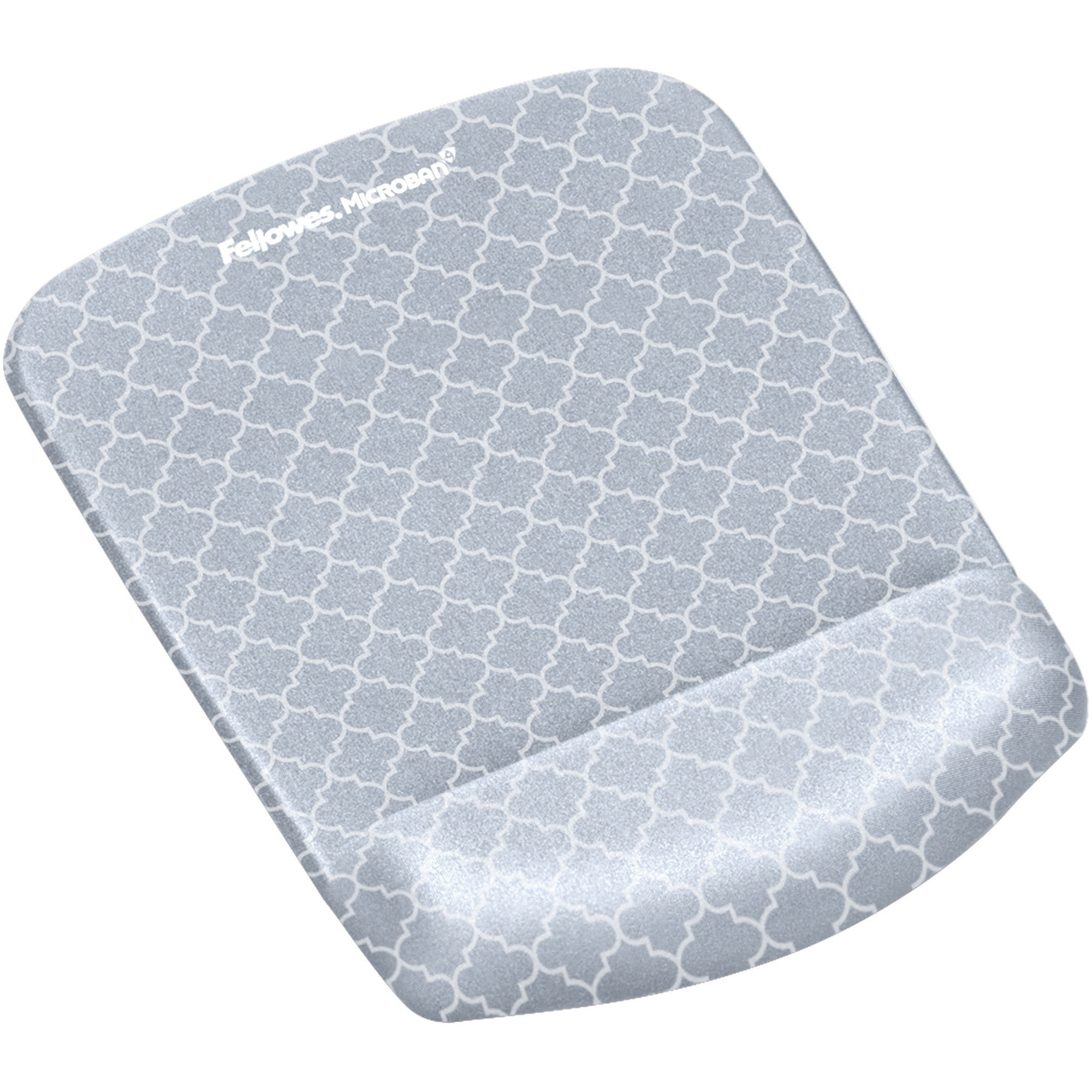 Fellowes, FEL9549701, PlushTouch™ Mouse Pad Wrist Rest with Microban® - Gray Lattice, 1, Gray,White