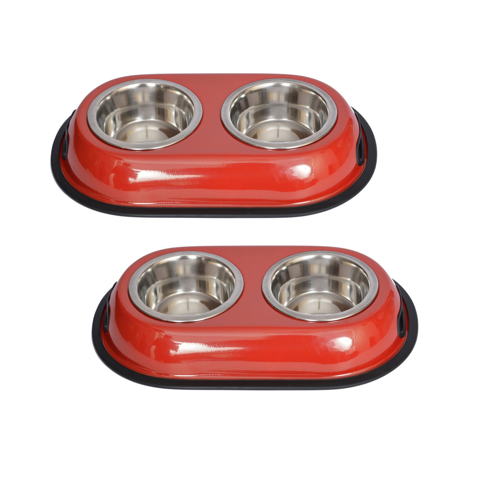 2-Pack Color Splash Stainless Steel Double Diner (Red) For Dog/Cat, 1 Qt, 32 Oz, 4 Cup