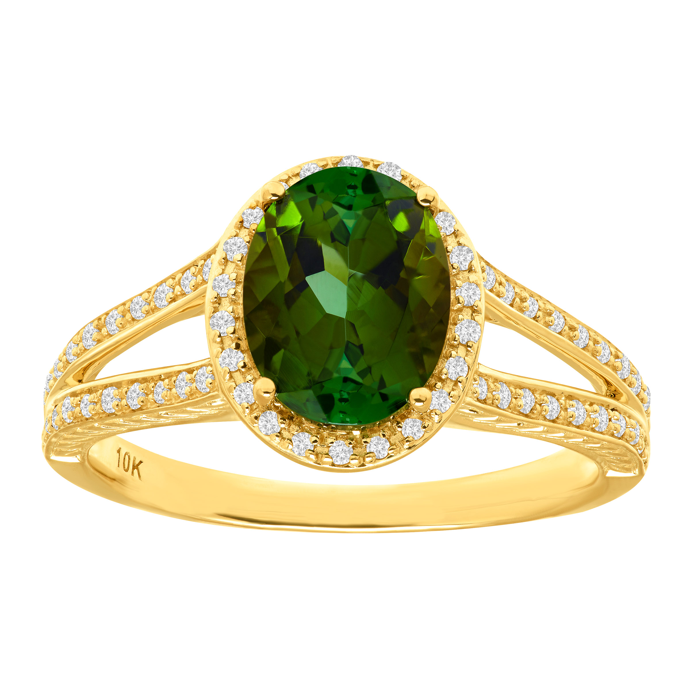 1 3 4 ct Natural Green Tourmaline & 1 5 ct Diamond Ring in 10kt Gold by Richline Group