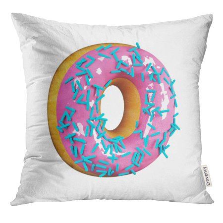 Candy Letters For Cakes (ARHOME Cake Rose Glazed Donut with Blue Sprinkles Delicious Letter O 3D Rendering White Candy Pillow Case 16x16 Inches)