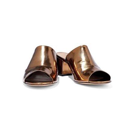 Schutz Women's Aylane Bronze Metalic Leather Block-Heel Slip-On Open-Toe Sandals (Bronze Tumbled Leather)