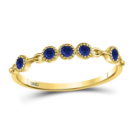 Ladies 10KT Yellow Gold Round Blue Sapphire Dot Stackable Band Ring 1/5CT