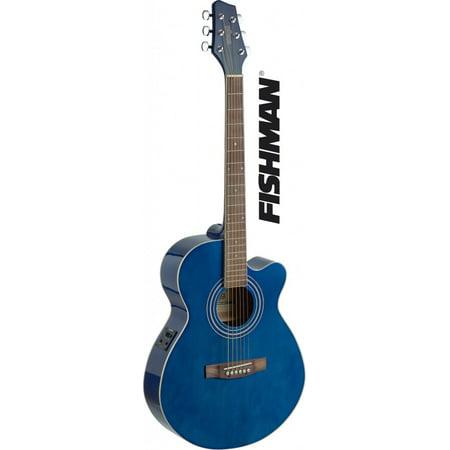 Stagg SA40MJCFI-TB Mini Jumbo Cutaway Acoustic-Electric Concert Guitar - Transparent