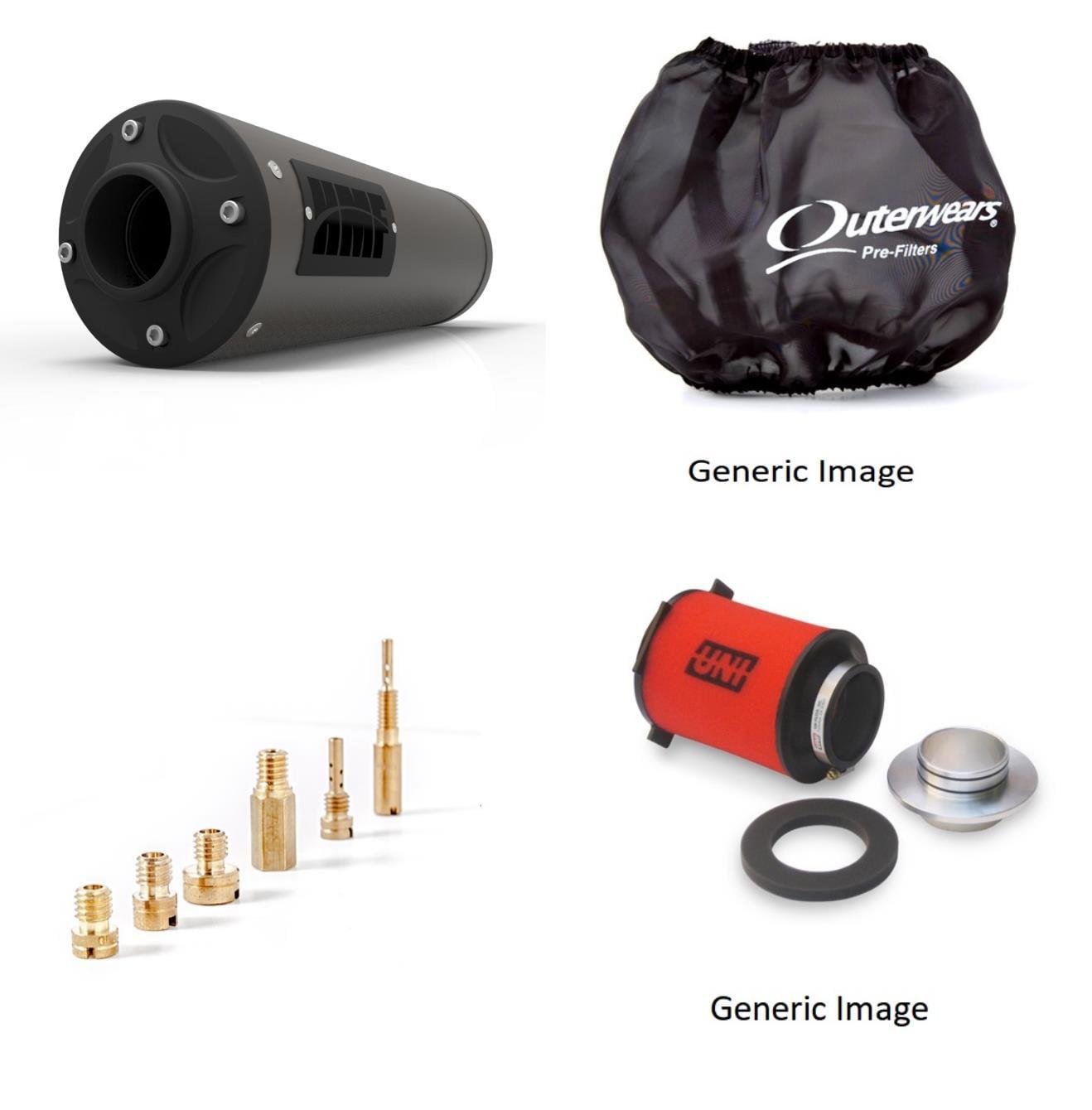 Basic Jet Kit, Pre Filter, Foam Air Filter & Blackout Titan-QS-Series Slip On Exhaust Billet for Kawasaki Teryx 2008