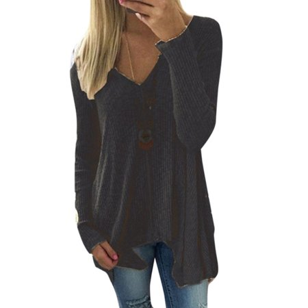 Women Long Sleeve V Neck Sweater Plus Size Casual Baggy Pullover Jumper Blouse