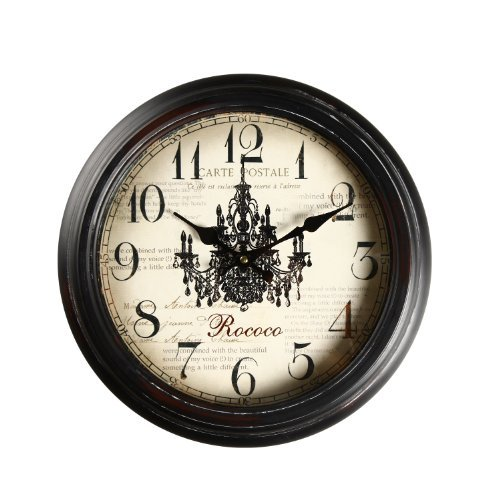 "Image of Adeco 14""~15"" Black Brown Antique-Look Dial Decorative Vintage Retro Traditional Wall Hanging Round ""Rococo"" Chandelier Detail, Round Circle Iron Clock, Home Office Decor, Brown"