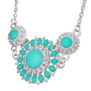 Fashion Alloy Vintage Turquoise-Tone Silver-Tone Flower Charm Bib Necklace