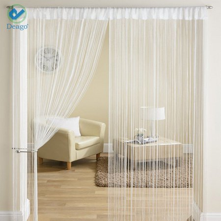 Deago Door String Curtain Flat Silver Ribbon Thread Fringe Window Panel Room Divider Strip Tassel for Wedding Cafe Home Décor (39