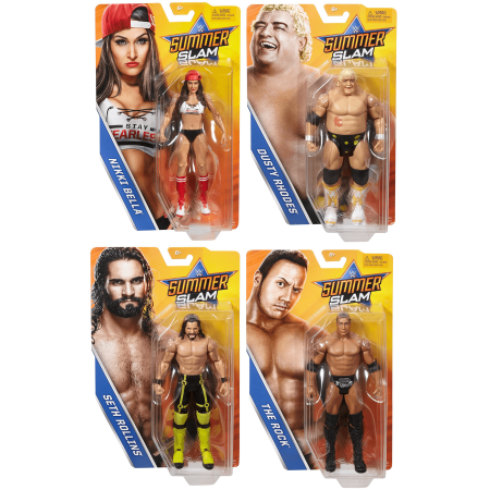 - WWE SummerSlam 2017 Series PPV Wrestling Action Figure (Deluxe Full Collector Set) Nikki Bella - Seth Rollins - Dusty Rhodes - The Rock -- WWF Toy Merchandise Summer-Slam Collectible