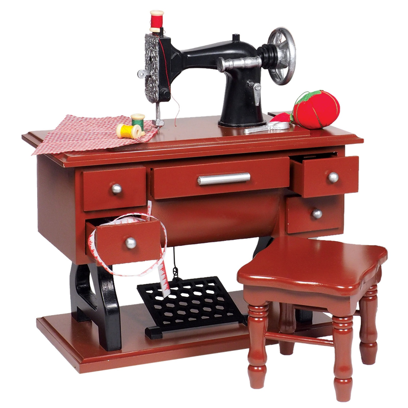 American Style 1930's Antique Sewing Machine Set & Stool for 18 Inch Girl Doll Furniture and Accessories by The Queen's Treasures