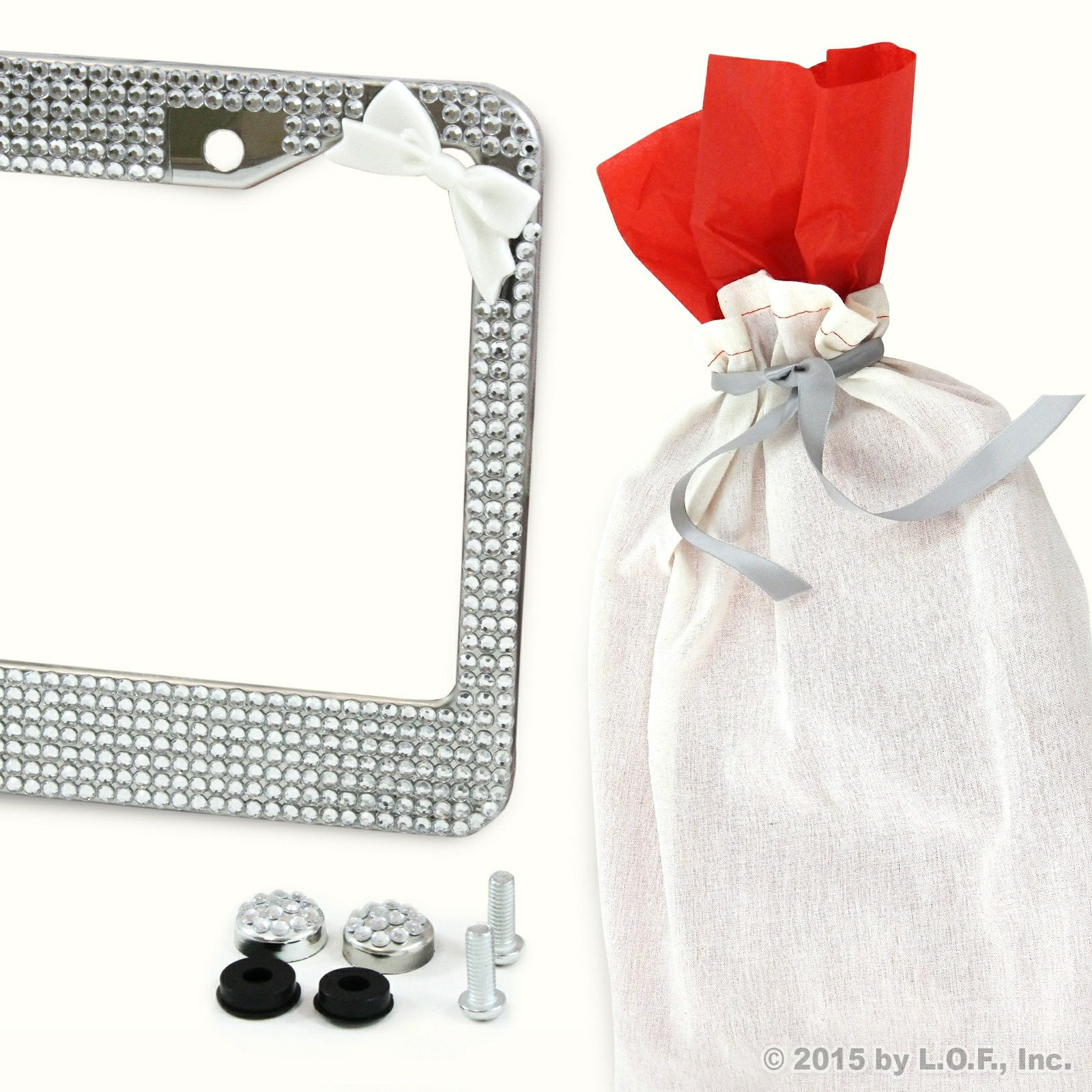 Silver Bling Crystal Rhinestone License Plate Frame w White Bow w Caps Gift Bag