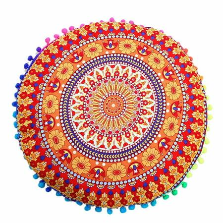 Indian Mandala Floor Pillows Round Bohemian Cushion Pillows Cover Case Cushions