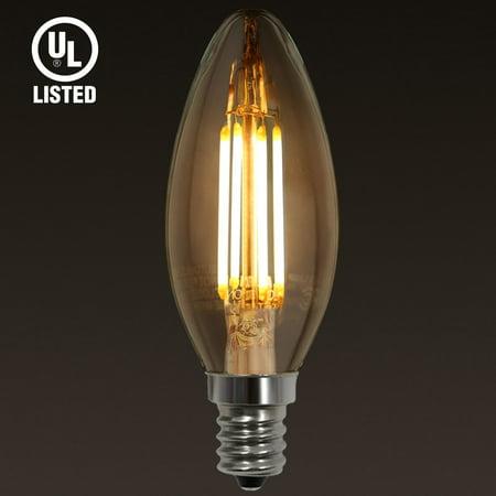 UL-listed E12 LED Filament Vintage Candle Light Bulb, Candelabra Base, 4W (40W Equivalent), 2700K Soft White, Pack of 1