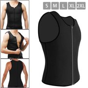 Gift for Mens Sauna Vest Waist Trainer Weight Loss Slimming Body Shaper Neoprene Underwear Corset Tank Wrap Top with Zipper Sweat Shapewear Sport  Burner Slimming Workout Shirt