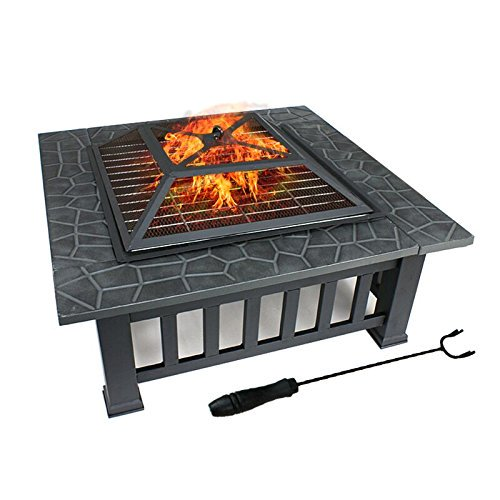 "32"" Zeny Outdoor Fire Pit Square Metal Firepit Backyard Patio Garden Stove Wood Burning Fire Pit W/Rain Cover, Black"