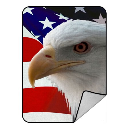 Juvenile American Bald Eagle (ZKGK Bald Eagle On American Flag Blanket Crystal Velvet Front and Lambswool Sherpa Fleece Back Throw Blanket)