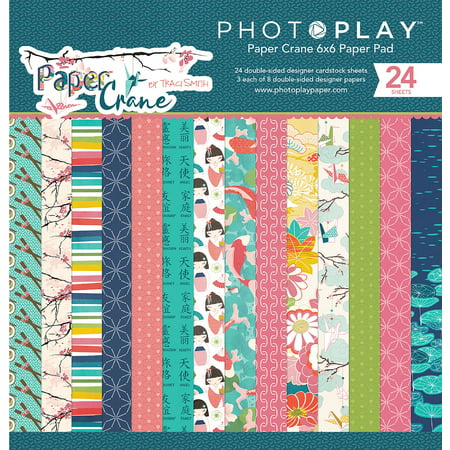 "PhotoPlay Double-Sided Paper Pad 6""X6"" 24/Pkg-Paper Crane, 8 Designs/3 Each"