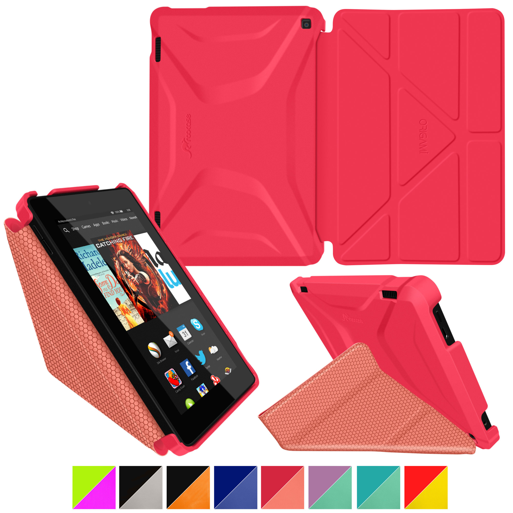 Fire HD 7 (2014) Case, roocase new Kindle Fire HD 7 Origami 3D Slim Shell Case with Sleep / Wake Smart Cover for All-New 2014 Fire HD 7 Tablet (4th Generation)