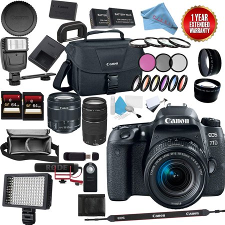 Canon Eos 77D Digital SLR Camera w/Canon 18-55 is STM + Canon 75-300 EF III Video Bundle (Canon Camera D70)