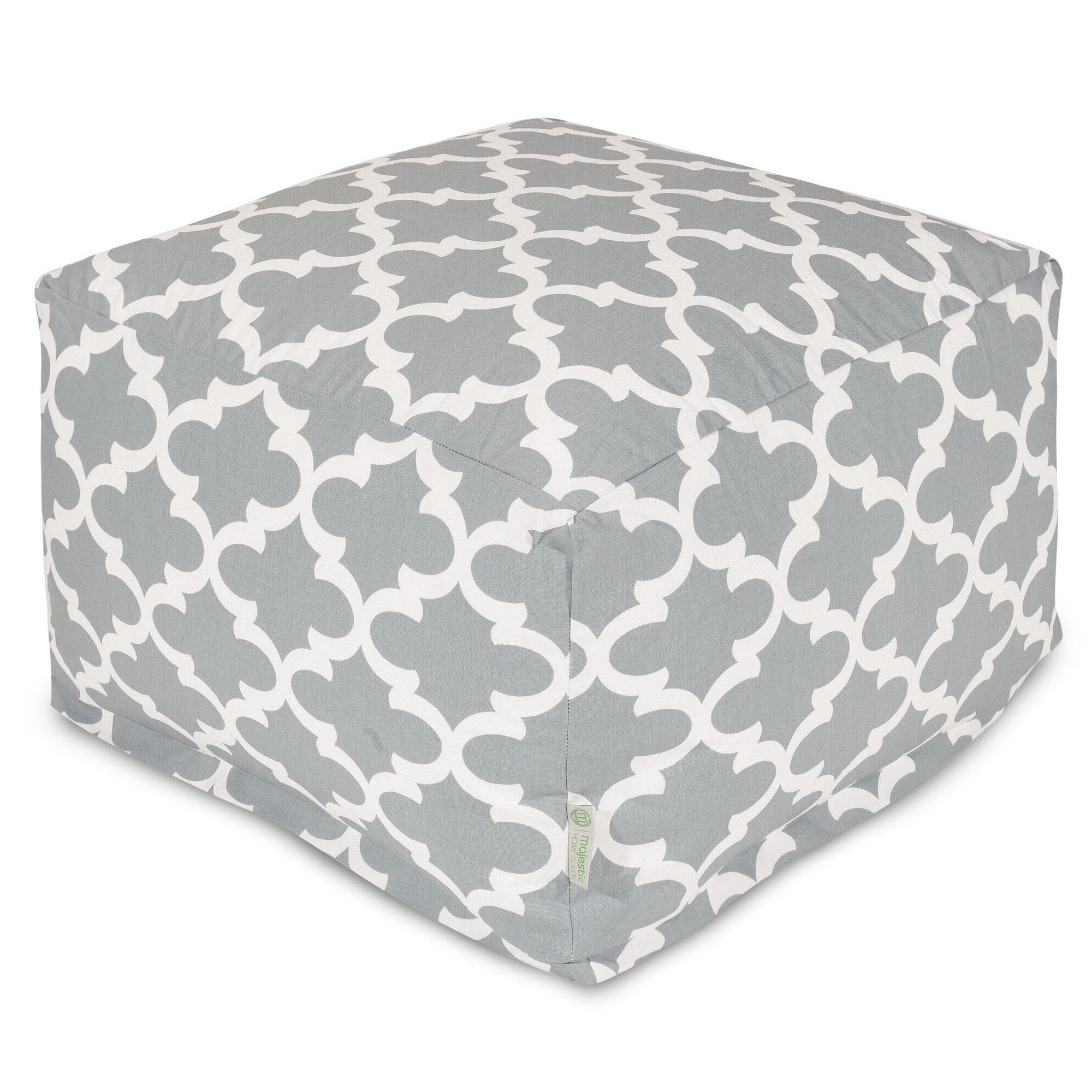 Majestic Home Goods Indoor Outdoor Treated Polyester Teal Trellis Ottoman Pouf