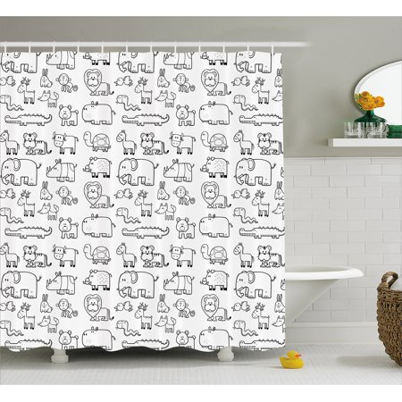 Nursery Shower Curtain, Wild Animals Set in Coloring Book Style African Safari Fauna in Monochrome Design, Fabric Bathroom Set with Hooks, 69W X 70L Inches, Black White, by Ambesonne