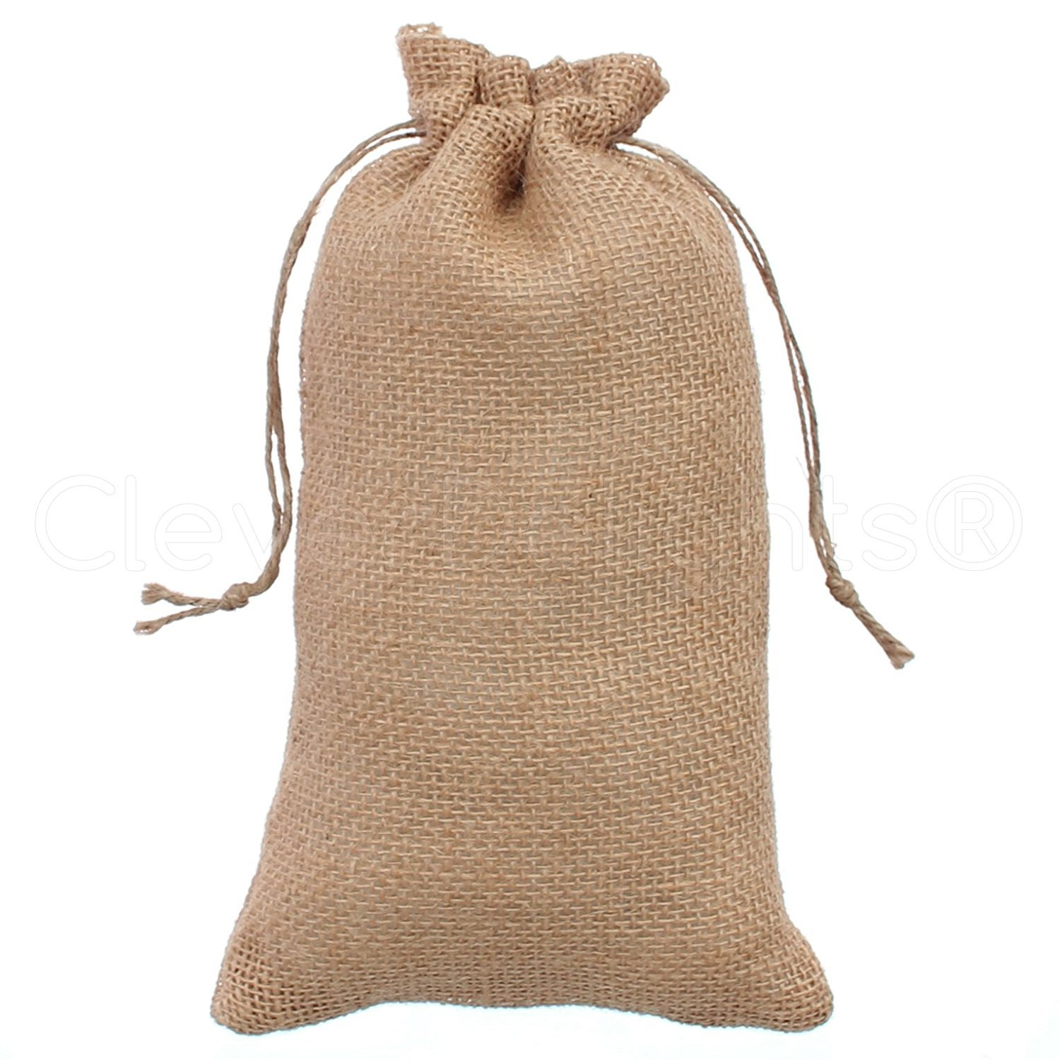 """CleverDelights 6"""" x 10"""" Burlap Bags with Natural Jute Drawstring - 5 Pack"""
