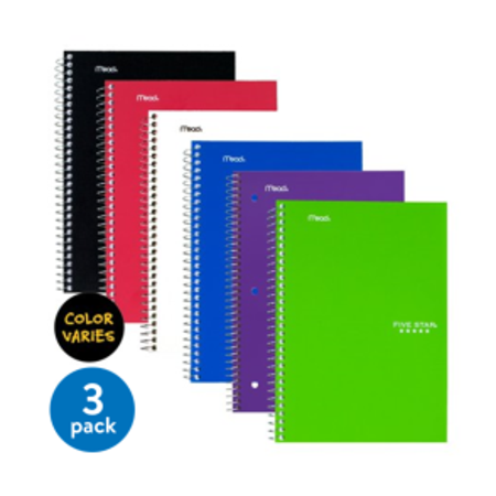 Speck Notebook ((3 pack) Five Star Wirebound Notebook, 2 Subject, College Ruled, 6