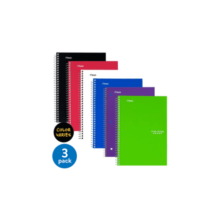 "(3 pack) Five Star Wirebound Notebook, 2 Subject, College Ruled, 6"" x 9 1/2"", Assorted Colors"