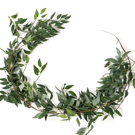 Artificial Green Leaves Wreath - Wreath Outdoor Green Wreath for Front Door Wall Window Party Decor ()