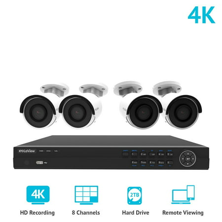 laview 8 channel 4k nvr security system w4 bullet 8mp 2160p ip poe indoor - Nvr Security System