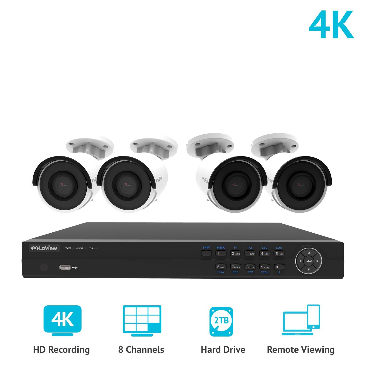 LaView 8 Channel 4K NVR Security System W/4 Bullet 8MP 2160P IP POE Indoor/Outdoor Surveillance Cameras 2TB