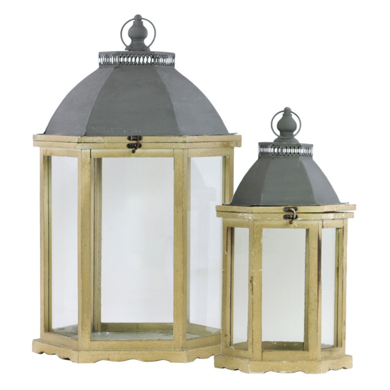 Urban Trends Collection: Wood Hand Lantern, Distressed Finish, Brown, Brown