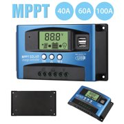 MPPT Solar Charge Controller 40/60/100A, TSV Solar Panel Controller 12V/24V Auto Focus Tracking LCD Display Solar Panel Battery Regulator with Dual USB Port