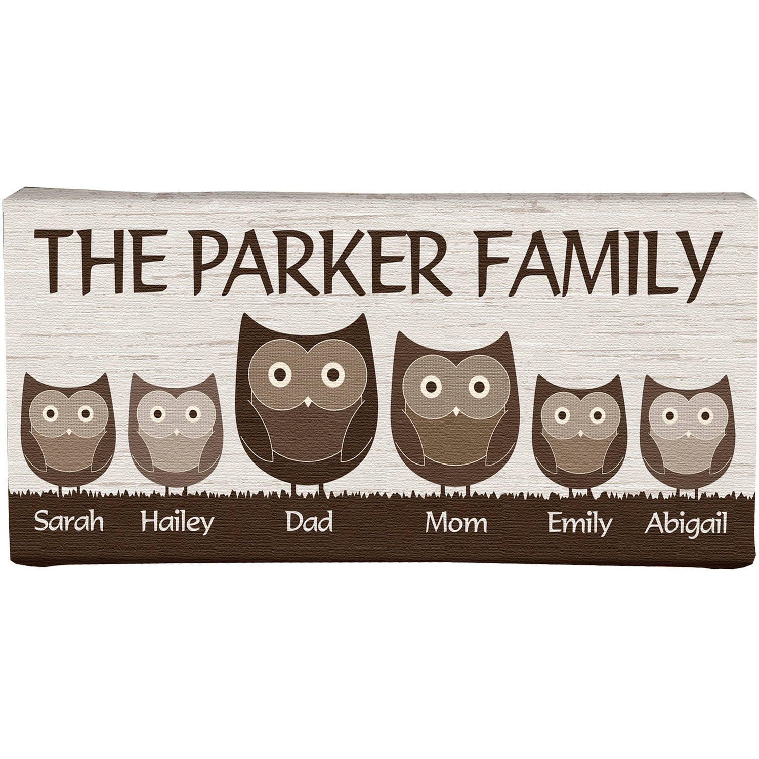"Personalized 5"" x 11"" Animal Family Canvas, Available in 2 Styles"