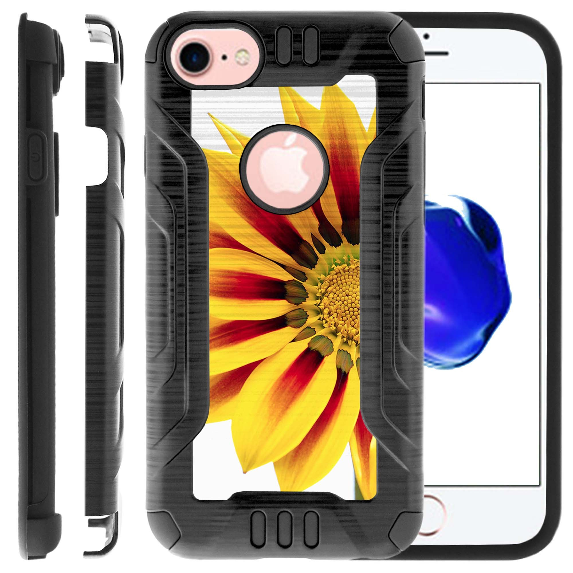 Apple iPhone 6 | 6s Phone Case, Dual Layer Case for iPhone 6 [PRO-Tech Series] Rigid Hard Plastic Shell TPU Bumper Corners with Design by MINITURTLE - Vivid Sunflower