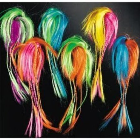 Fun Express Halloween Witches, Indians, Hippy, Tropical Costume Accessory -- Two Tone Neon Hair Attachments 12 ct