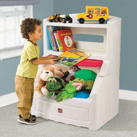 Step2 Lift Hide Bookcase With Kids Storage Bin And Toy Organizer Red
