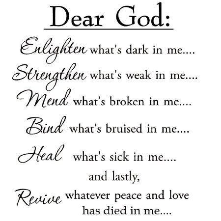 VWAQ Dear God Enlighten What's Dark in Me Wall Decal Inspirational Words Motivational Saying Wall Quote