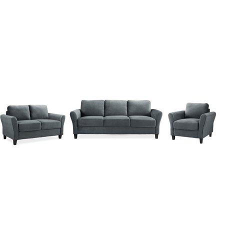 3 Piece Sofa Set with Sofa, Loveseat, and Accent Chair in Dark
