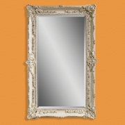 Antique White Wall / Leaning Floor Mirror - 43W x 69H in.