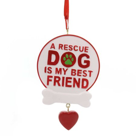 Holiday Ornaments RESCUE  DOG SIGN Polyresin My Best Friend A1844