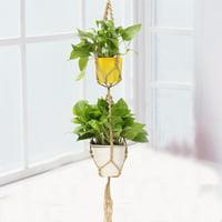 49'' Macrame Plant Hanger Double 2 Layer Jute Rope Pot Holder Hanging Basket Indoor Outdoor