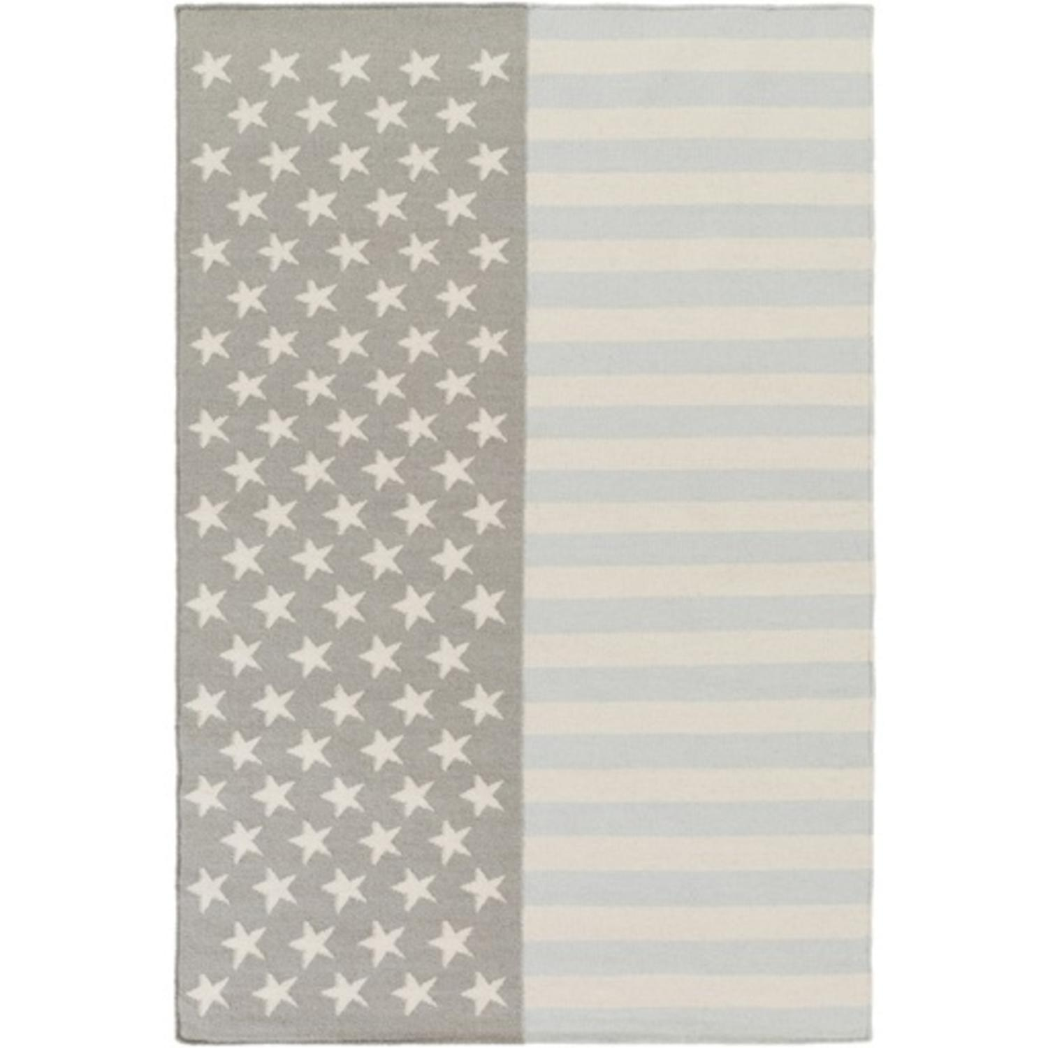 2' x 3' Home of the Brave Cool Gray, Light Blue and Taupe Wool Area Throw Rug