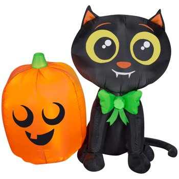 Halloween Airblown Inflatable 3.5 ft. Cat and Pumpkin